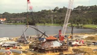 Second arch lift for the Elizabeth Quay bridge - timelapse