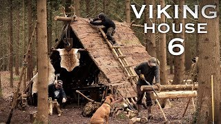 Building a Viking House with Hand Tools: Bushcraft Project | Bark Roof (PART 6)