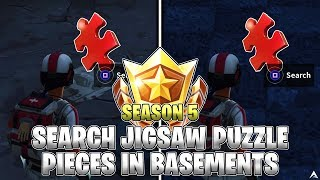 SEARCH JIGSAW PUZZLE PIECES IN BASEMENTS LOCATIONS! Week 10 Challenges (Fortnite Season 5)