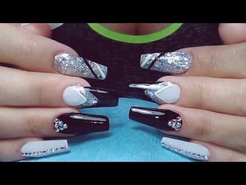 Uñas Elegantes En Color Negroplata Y Blanco Youtube