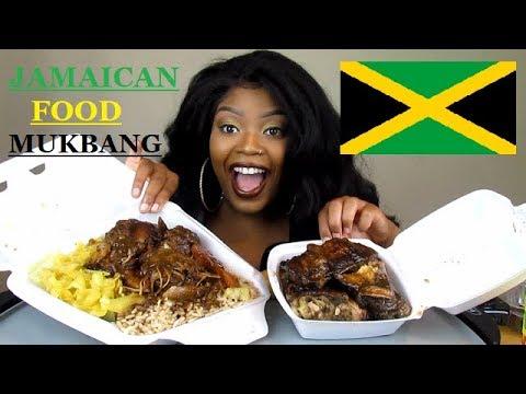 JAMAICAN FOOD MUKBANG! BROWN STEW CHICKEN, JERK CHICKEN, BEEF PATTY