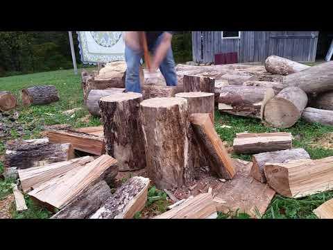 Fiskars x27 splitting axe on seasoned cherry firewood 5 STAR rating