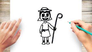 How to Draw Shepherd Nativity