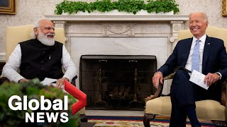 """Download """"Are we related?"""" Biden jokes with India's Modiin 1st in-person meeting"""