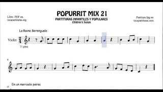 21 de 30 Popurrí Mix Partituras de Violín La Reina Berenguela Arroz con leche En un mercado persa