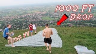 100FT DIY SLIP N SLIDE INTO 1000FT DROP!!!