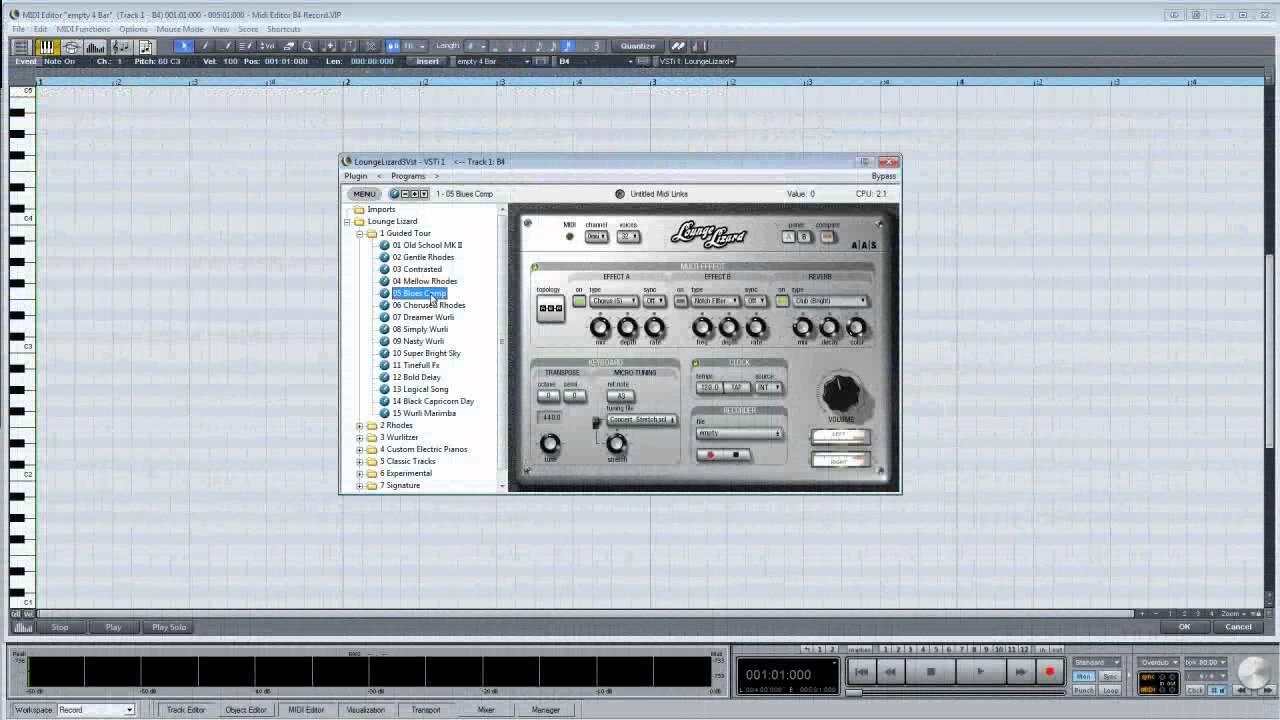 Samplitude & Sequoia Midi-04:Recording a Midi Performance into the Midi  Matrix (Piano Roll) Editor