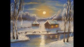 Онлайн урок, рисуем зимний пейзаж. Пастель.