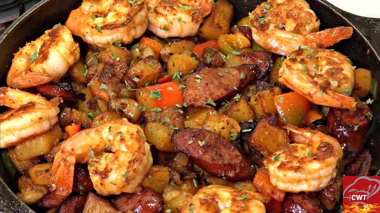 Cajun Shrimp Sausage And Potato Skillet Potato Skillet Youtube