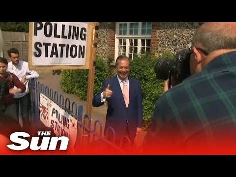 Nigel Farage ambushed by French reporter while casting his vote