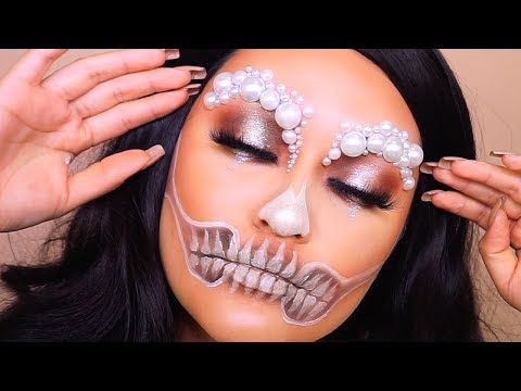 GLAM SKULL MAKEUP TUTORIAL || HALLOWEEN MAKEUP thumbnail