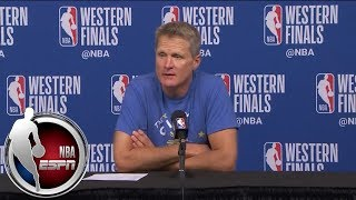 [FULL] Steve Kerr jokes that Steph Curry's injury is '13.7%' responsible for his play | NBA on ESPN