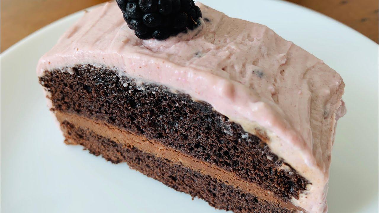 Eggless Blackberry Chocolate Cake | Tort cu mure și ciocolată fără ouă | Ежевичный торт без яиц