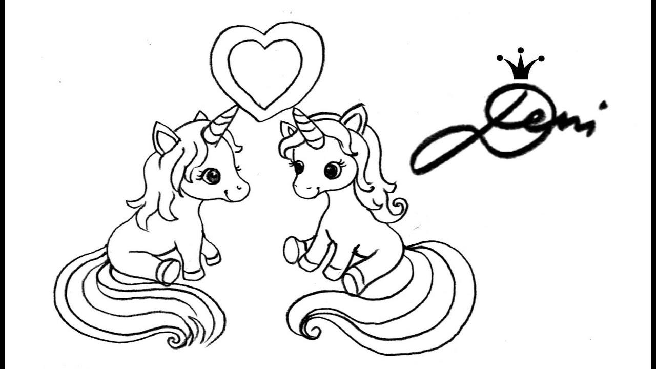 Einhorn Zeichnen Lernen Als Verliebtes Paar Für Valentinstag