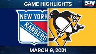 NHL Game Highlights   Rangers vs. Penguins – Mar. 9, 2021