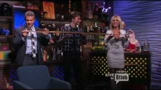 Tamra Barney wearing Savee on Watch What Happens Live with guest Chris Colfer