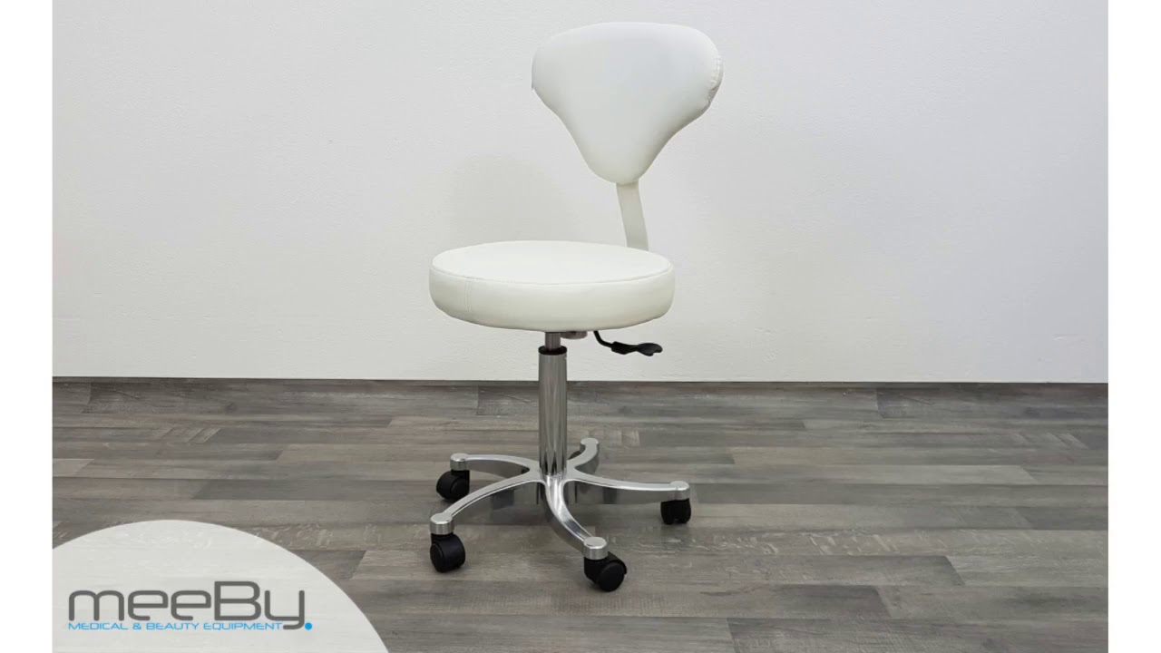 Sgabello Estetista Bianco : Sgabello con ruote e seduta rotonda in skai bianco youtube