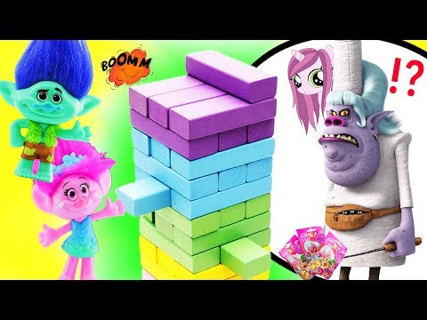 Trolls Movie Jenga Game! Learn Colors w Poppy, Branch, DJ Suki, Bergen Chef & Baby Poppy.
