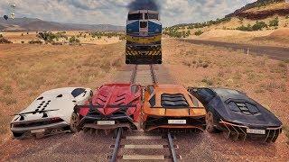 Racha Na Linha Do Trem Só De Lamborghini - Aventador VS Veneno VS Sesto Elemento VS Centenario