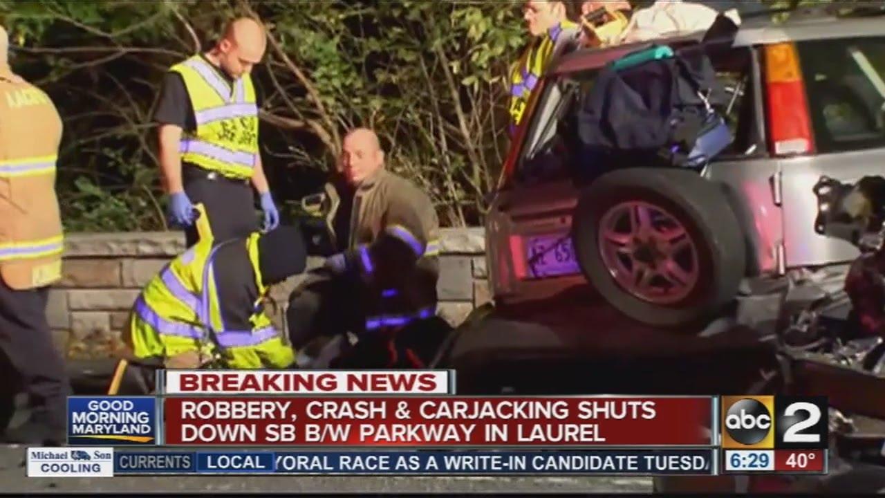 Robbery, crash, carjacking shuts down BW Parkway in Laurel