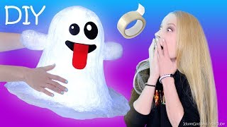 DIY Giant Ghost Emoji Out Of Clear Tape – How To Make Clear Tape Ghost Nightlight