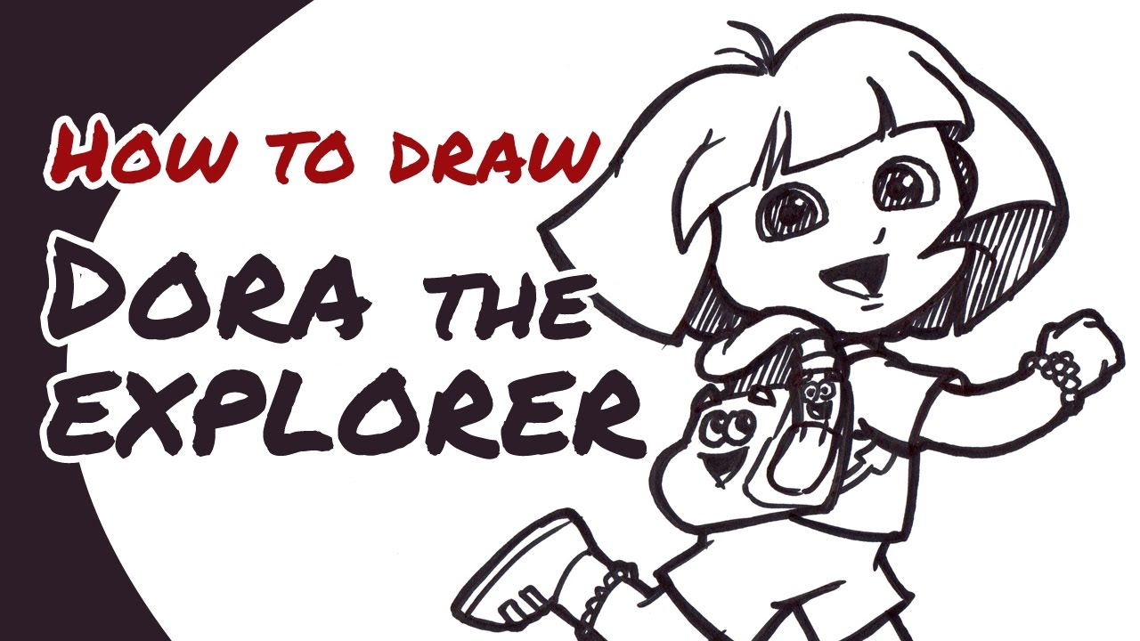 How To Draw Dora The Explorer (with Backpack U0026 Map) | Drawing Guide For Kids