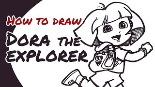 How to draw Dora the Explorer (with Backpack & Map) | Drawing Guide for Kids