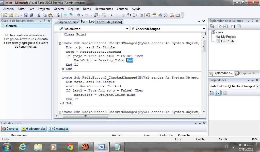 Visual Basic- Cambiar color de fondo con radio button - YouTube