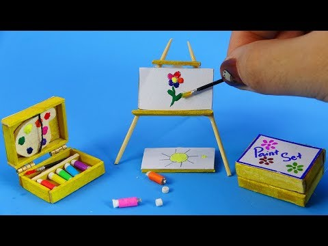 DIY Miniature And Crafts ~ Paint Set (paintings, Easel, Palette, Acrylic Colors) | ZO ZO Crafts
