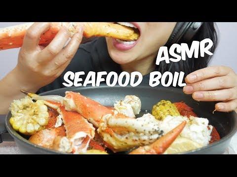 ASMR KING CRAB + LOBSTER CLAWS (Seafood Boil) EATING SOUNDS | SAS-ASMR No Talking
