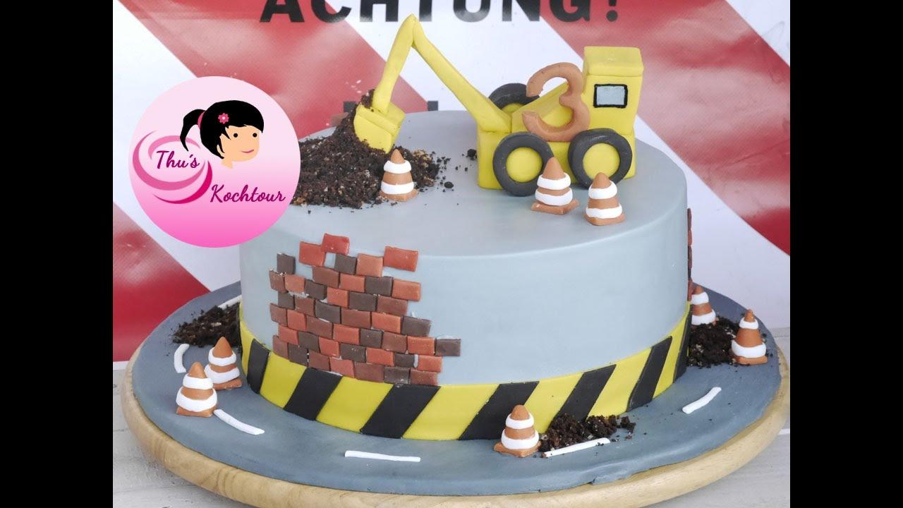 ENG SUB Excavator Cake Bagger Torte Birthday Fondant