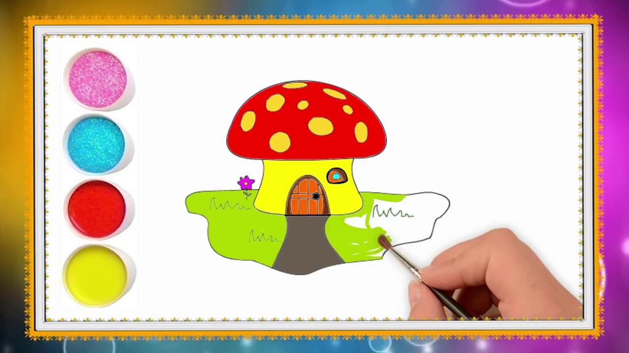 Belajar Menggambar Dan Mewarnai Jamur Yang Cantik