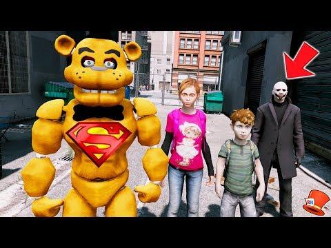 SUPERHERO BUFF FREDDY SAVES THE KIDS! GTA 5 Mods FNAF RedHatter