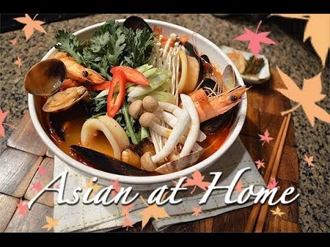 Asian recipe with seafood broth