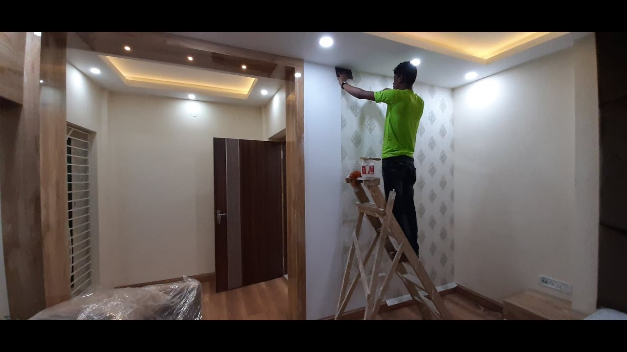 How to Pasting Wallpaper in Bedroom's Wall   Bedroom Wall Decor ideas 2020