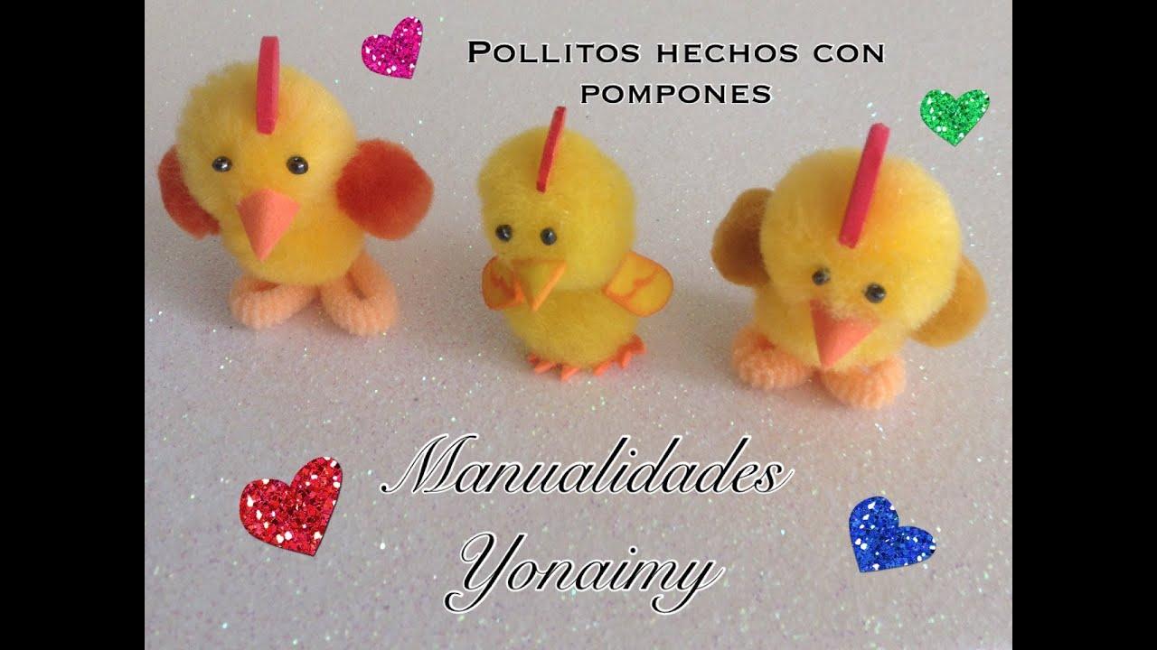 Pollitos hechos con pompones manualidad para ni os - Manualidades con pompones ...