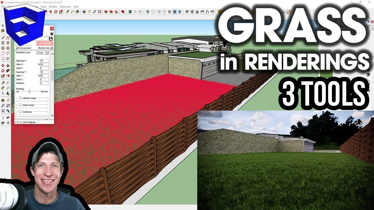 3 WAYS TO CREATE GRASS in SketchUp for Renderings - The SketchUp