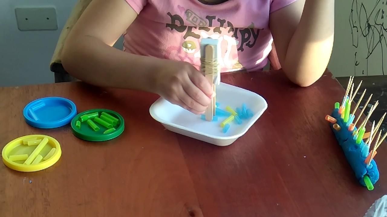 8 Actividades para la coordinación motora fina con cañitas - YouTube