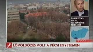 16.22 pm - MTV (Magyar Televízió) live brodcast on Pécs University gun rampage.