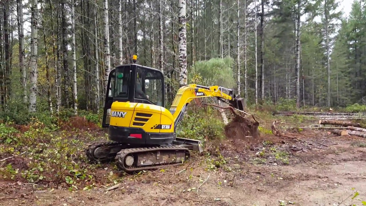 Sany sy35u mini excavator review and pushing over trees