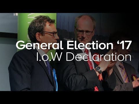 General Election 2017 - Isle of Wight Declaration of Bob Seely as MP