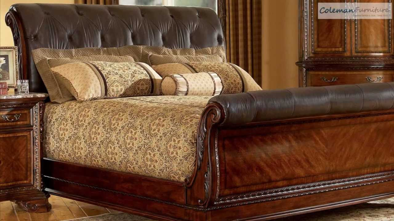 Old World Bedroom Furniture Old World Leather Sleigh Bedroom Collection From Art Furniture