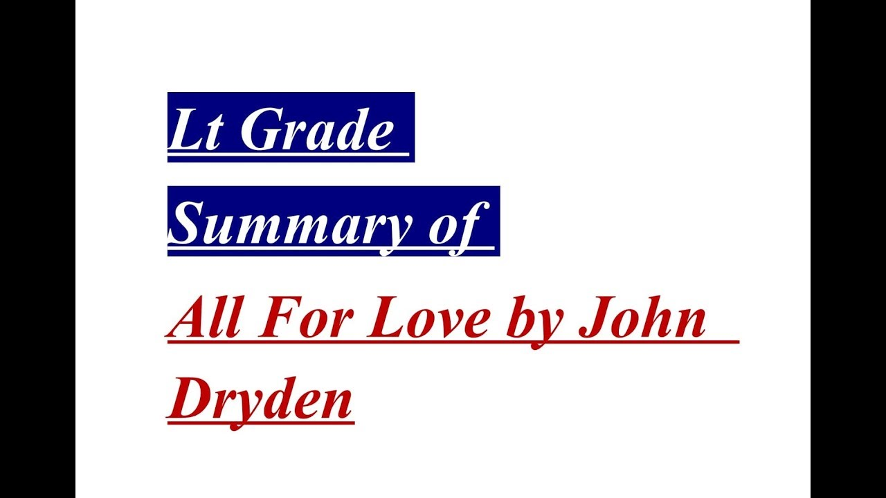All For Love John Dryden Pdf