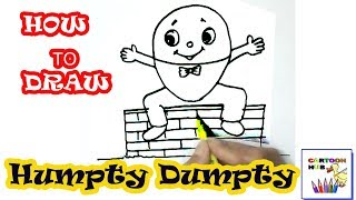 How to draw Humpty Dumpty  in easy steps, step by step for children, kids, beginners