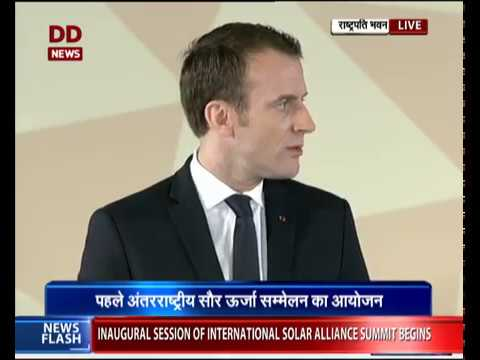 French President Emmanuel Macron delivers inaugural address at the ISA in Delhi