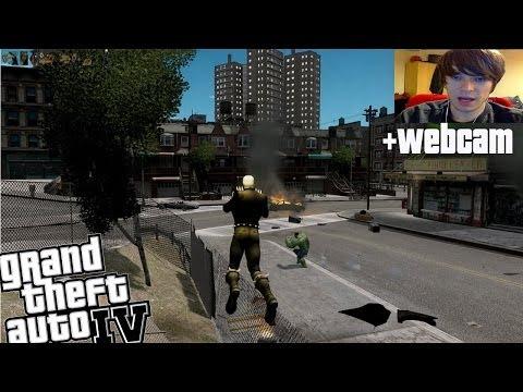 GTA IV Ghost Rider VS Incredible Hulk + Webcam
