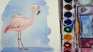 How to Draw and Paint a Watercolor Flamingo- Beginner