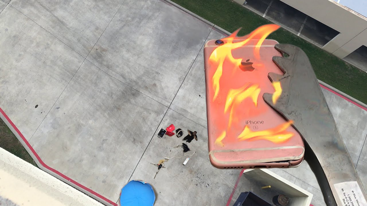 Can Flaming Iphone 6s Survive 100 Ft Drop Into Kiddie Pool