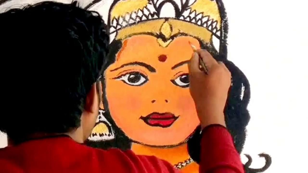 Saraswathi speed painting wall mural art youtube for Asha ramachandran mural painting