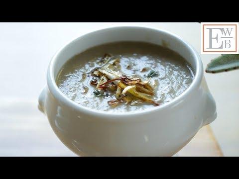 beth's-cream-of-mushroom-soup-with-crispy-leeks-|-entertaining-with-beth